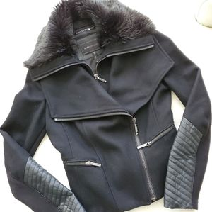 BCBG MaxAzria nice faux-fur-leather black jacket